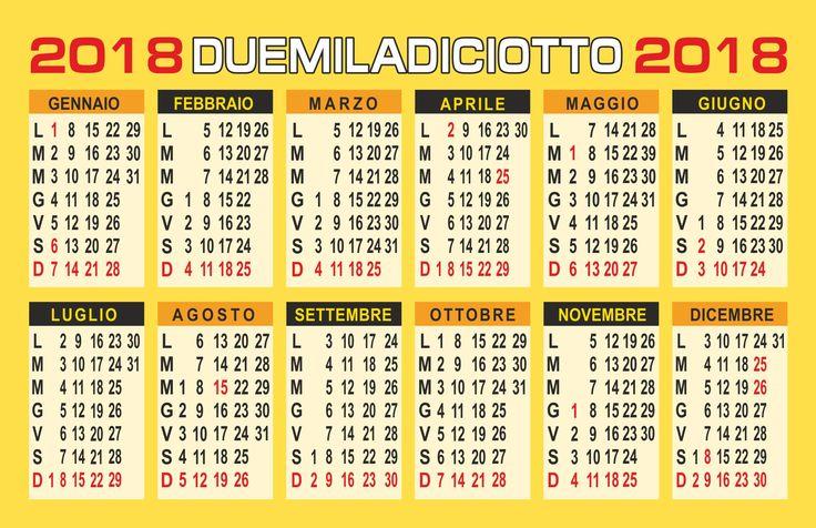 calendario 2018 vettoriale