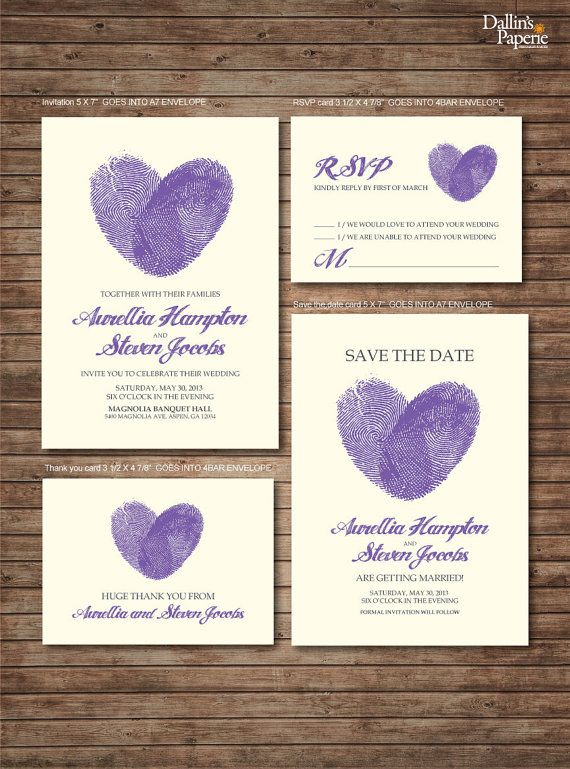 I think this would be the best way to go, however we could always do it ourselves and save money. Just need a purple stamp and purple ink in the printer. Wedding Invitation printables Finger print Heart by DallinsPaperie, $30.00