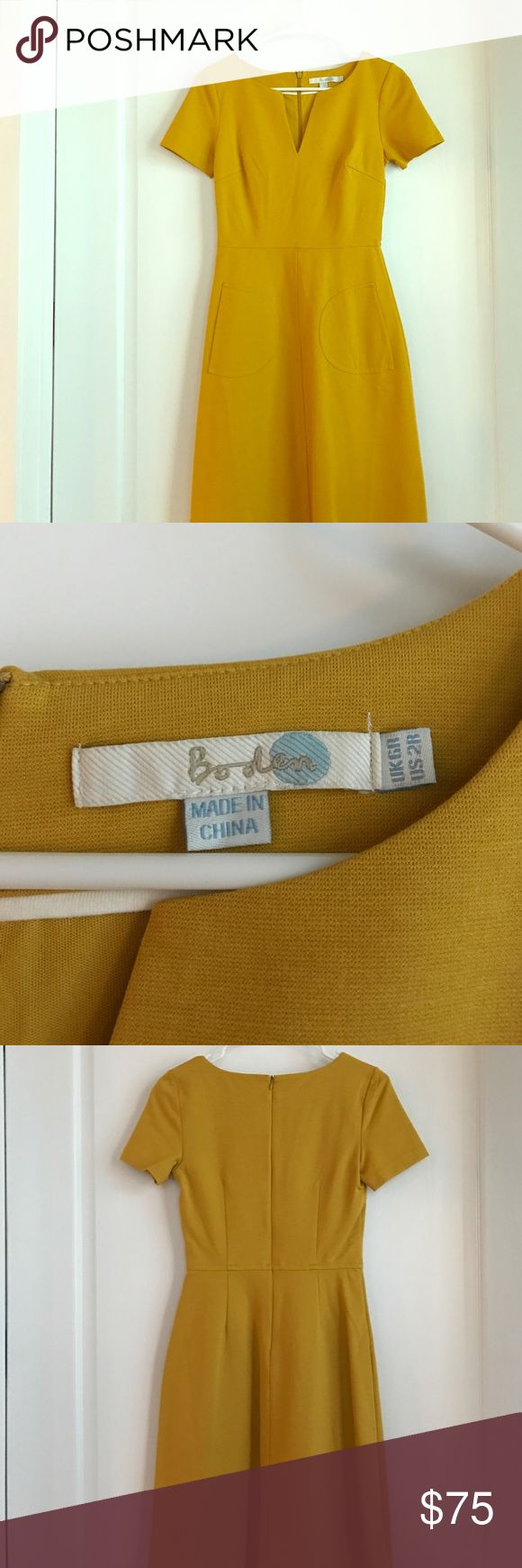 Mustard yellow Boden dress Super cute mustard yellow dress from Boden. Perfect for work with a skinny belt. Boden Dresses Mini