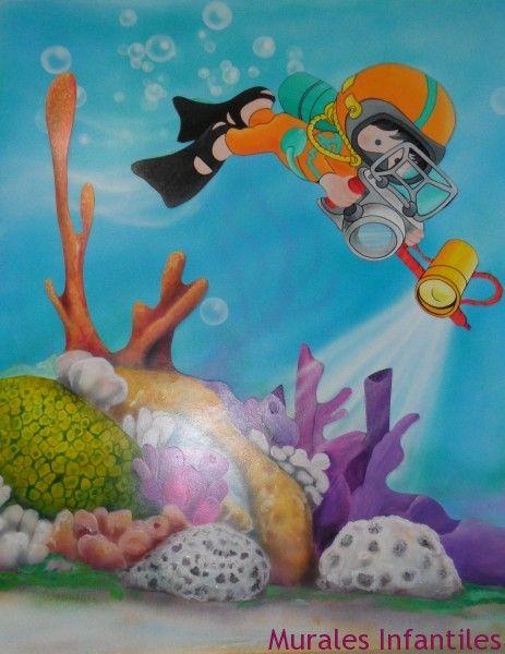 mar 24 Mural infantil con fondo marino.