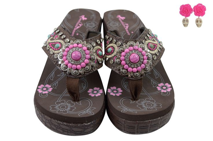 Montana West Bohemian Paisley Embroidered Flower Pink Turquoise Concho Platform Wedge Flip Flops Brown