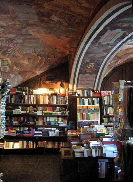 The Vilnius University bookshop - the ceiling is painted with famous Lithuanians. Photo by Beny Shlevich, via Flickr