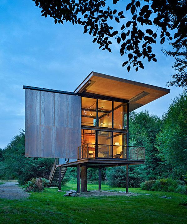 Olson Kundig Architects have completed a steel-clad cabin in Olympic Peninsula, Washington, USA. Entitled Sol Duc Cabin, this unusual looking shelter has a total area of 350 square feet and is surrounded by wilderness.