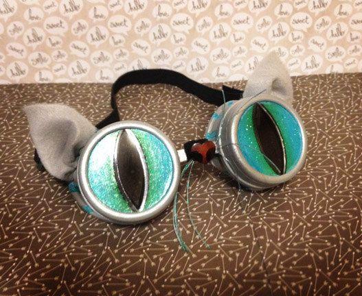 Comic Con Cheshire Cat Goggles Alice in Wonderland Goggles Cosplay Halloween Cheshire Cat Steampunk ComicCon Goggles Burning Man Coachella