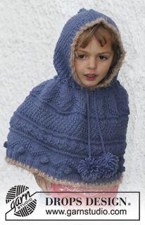 """Poncho DROPS tejido con patrón para realzar textura y capucha, en """"Nepal"""". Pompones y orillas en ganchillo, en """"Symphony"""". Talla: 3 – 12 año..."""