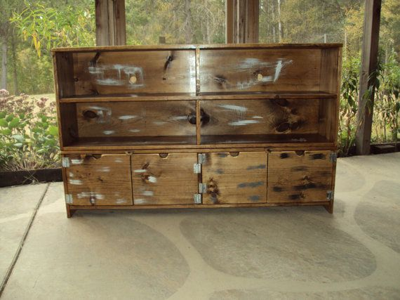 TV Cabinet 58 Inch wide 36 Tall TV Cabinet Old Barn Wood Look Entertainment Center bookcase Primitive Storage Bench Sideboard Buffet. $600.00, via Etsy.