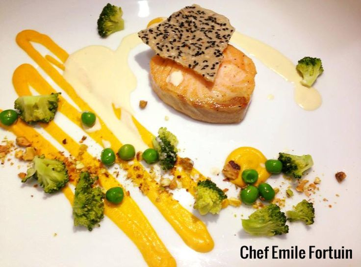 Appetizing seared salmon, carrot mousse, crushed pistachio, steamed greens, lemon cream and sesame rice cracker! #chefstalk #gourmet #foodstyle #foodart #recipes #designculinaire #plating