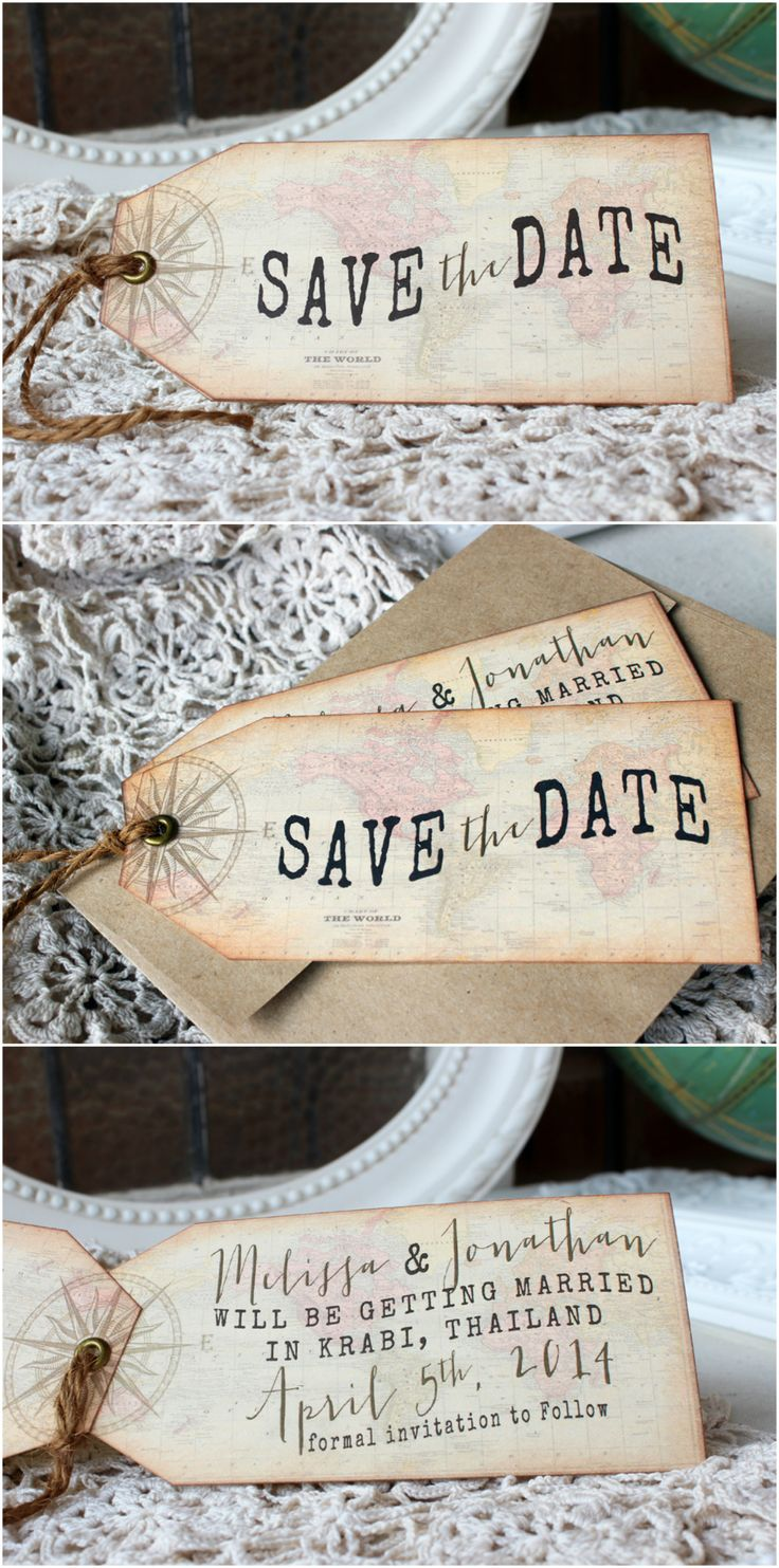 Perfect for a destination wedding! Antique map and compass hinged tag save the date | Sunshine and Ravioli