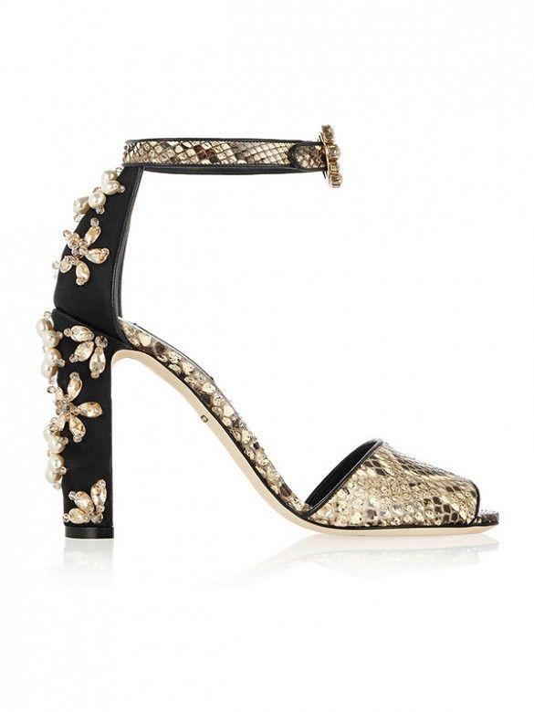 Dolce & Gabbana Embellished Python Sandals