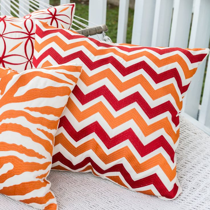 Alexander Home Embroidered Red/ Orange Chevron Down Feather or Polyester Filled 22-inch Throw Pillow or Pillow Cover (