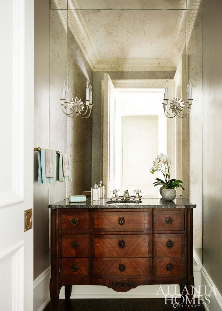 Powder room in Atlanta home by Harrison Design with interiors designed by Huff-Dewberry {House of Turquoise}
