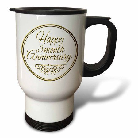 3dRose Happy 3 month Anniversary. gold text. 3rd month together anniversaries, Travel Mug, 14oz, Stainless Steel