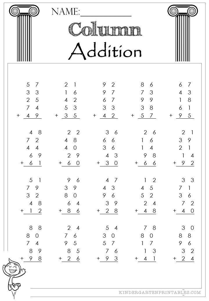 Two Digit Column Addition 5 addends worksheets