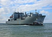 180123-N-OH262-583  NORFOLK (Jan. 23, 2018) The Military Sealift Command dry cargo and ammunition ship USNS William McLean (T-AKE 12) gets underway from Naval Station Norfolk. William  McLean departed from Virginia to begin its deployment in support of U.S. naval and allied forces operating in the U.S. 6th Fleet area of responsibility. (U.S. Navy photo by Bill Mesta/Released)