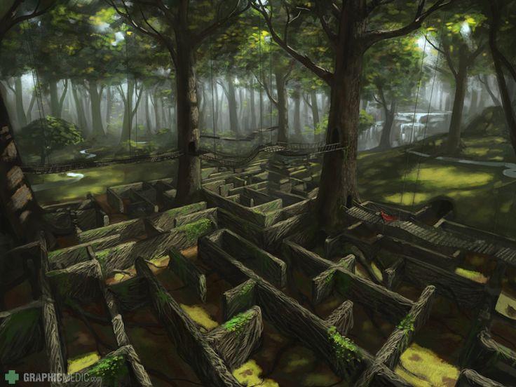 Forest maze illustration