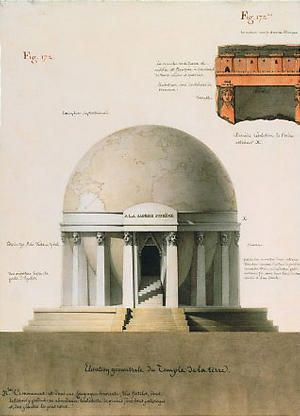 Jean Jacques Lequeu 'Elevation géométrale du temple de la Terre,' drawing by J-J Lequeu from his manuscript 'Architecure Civile,' 1794.