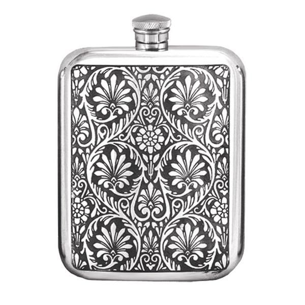6oz Victorian Leaves English Pewter Hip Flask