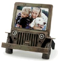 Classic Jeep metal picture frame shaped like an old Jeep vehicle.