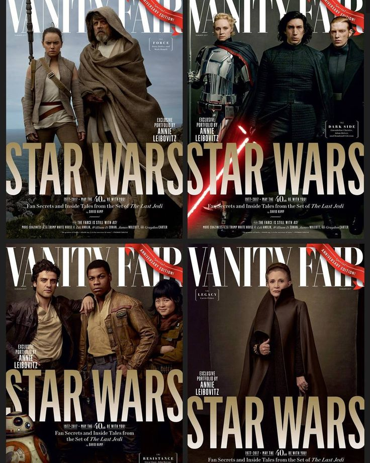 See the Cast ofStar Wars: The Last Jedion Four ExclusiveVanity FairCoversOur reveal of the latestStar Warsfilm is too big for just one cover.  byVANITY FAIR  photographs byANNIE LEIBOVITZ  MAY 23 2017 6:00 AM  The relationship betweenVanity FairandStar Warsstretches back long ago and far far away to when Leibovitzcaptured the castofThe Phantom Menacefor the seriess return in 1999. The magazine has gone on to document each of the subsequentStar Warsepisodes including2015s blockbusterThe Force…