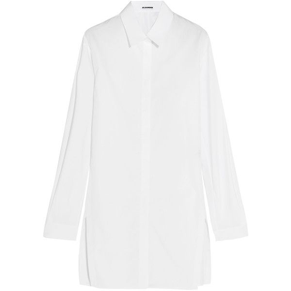 Jil Sander - Oversized Cotton-poplin Shirt (2.468.635 IDR) ❤ liked on Polyvore featuring tops, white, tailored white shirt, tailored shirts, white shirt, jil sander and oversized white shirt