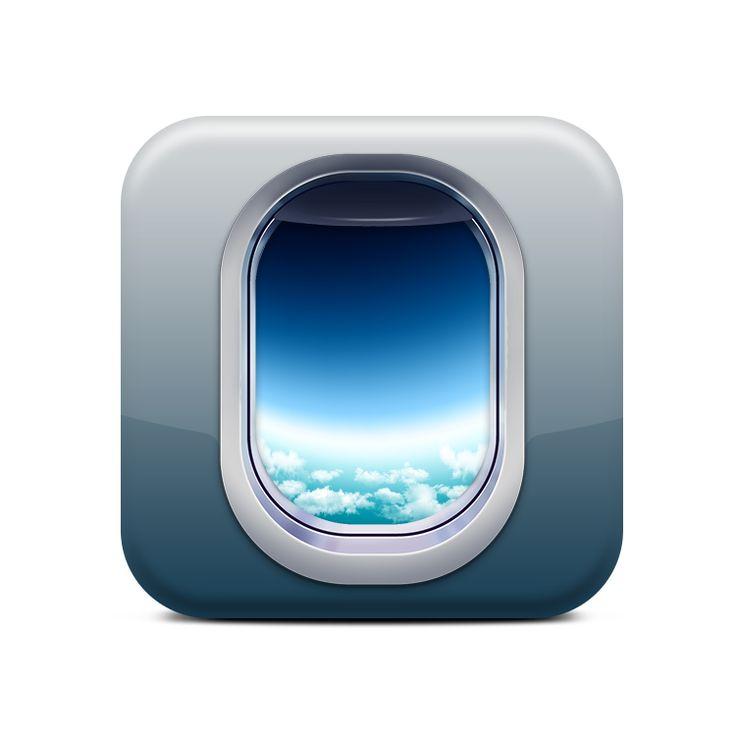 This is a really cool app icon; it is giving you a preview of a window of an airplane and actually looking out at the sky. It was executed very well; the sky looks real and it has that bent look that windows give. I think people would be drawn to this app