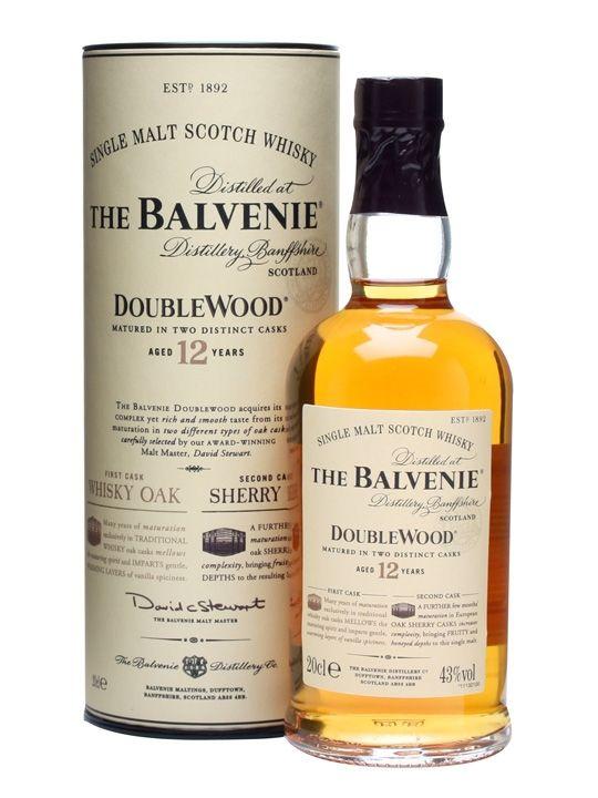 """Balvenie 12 anni """"Double Wood"""" - Single malt dello Speyside, invecchiato in ex botti di bourbon prima di passare in quelle di sherry, buon corpo, le note di bourbon consistenti con una leggera torbatura in sottofondo (da provare, ben quotato sul web)"""