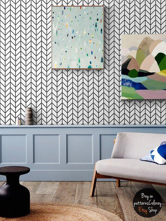 Geometric Herringbone Pattern Removable Wallpaper Scandinavian Style Home Design By Patternscoloray