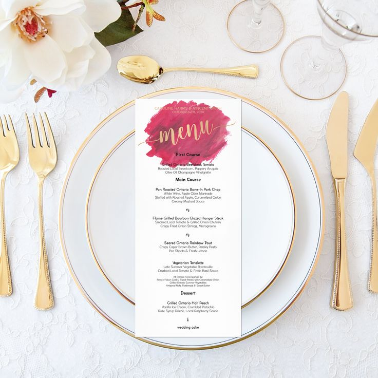 Printable Wedding Menu - Personalized Dye Watercolor Burgundy Wedding Boho - Elegant Wedding Set - Calligraphy Wedding Maroon Faux Gold Foil by OnionSisterCreative on Etsy