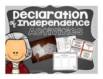 Need some fun and engaging activities to use while covering the Declaration of Independence!? Included in this pack are;task cards, center cards, organizers, craftivity book, texting activity, and a brochure craftivity! Please note that the craftivity, center cards, and task card products are listed in my store as individual items.