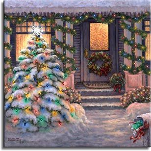 Welcome to Christmas, a wintery painting by artist Janet Kruskamp.