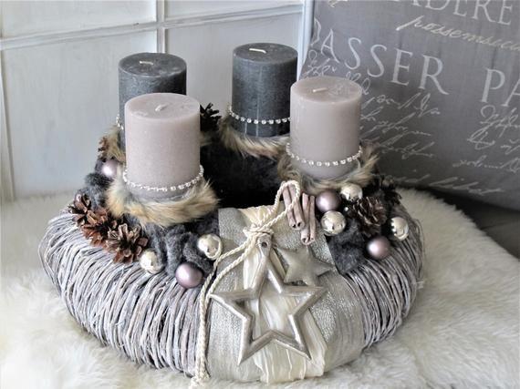 Grosser Adventskranz Pure Eleganz Champagner Anthrazit Wiederverwendbar Pillar Candles Candle Holders Colours