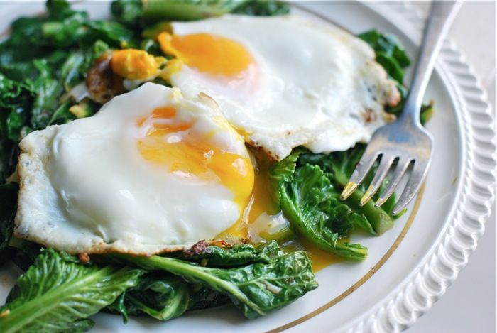 Garlicky Greens with Over-Easy Eggs by brooklynsupper #Eggs #Greens