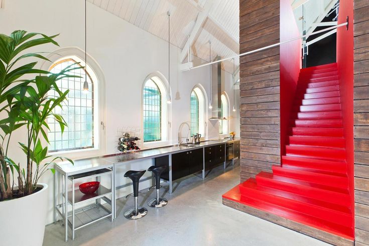 Kitchen, Red Staircase, Unique Loft Conversion in The Netherlands