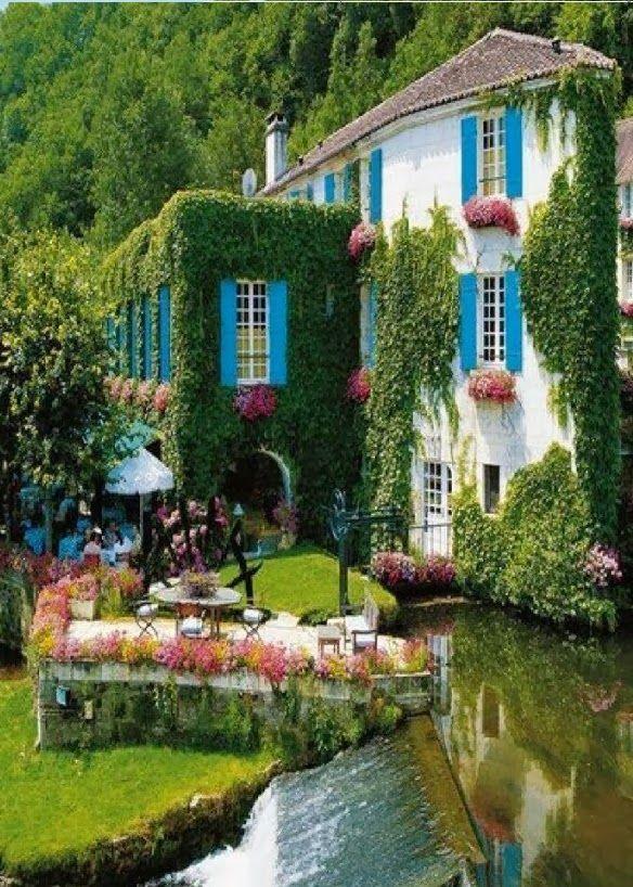 Grass hotel facade in Brantome, France.