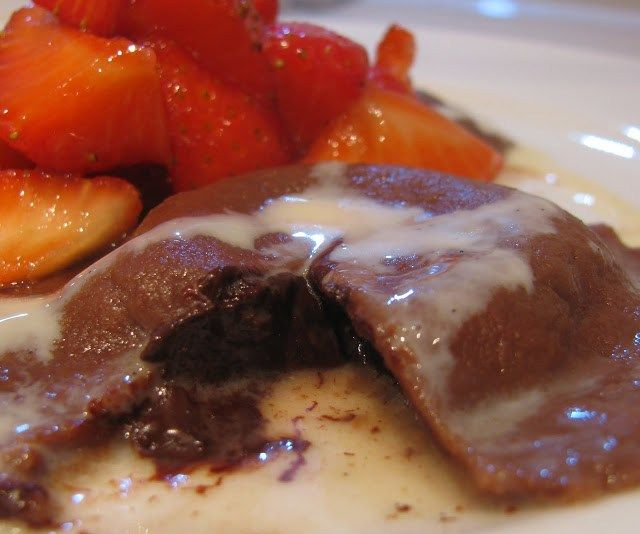 Dark Chocolate Ravioli with Creme Anglaise and Lemon/Lavender infused strawberries -