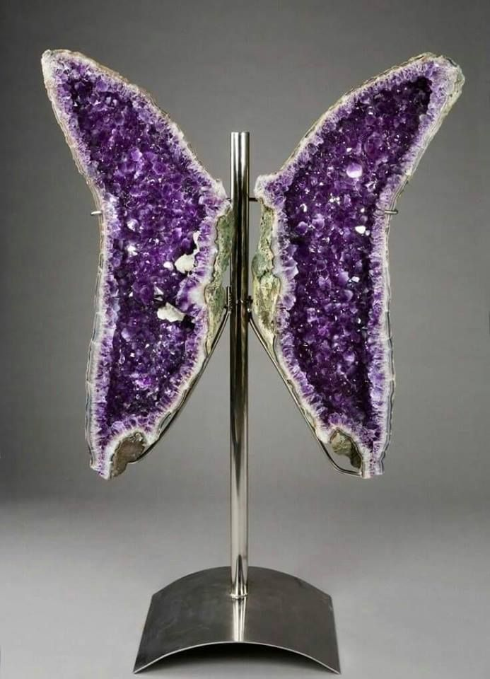 OMG.....Beautiful #CRYSTALEYECANDY Time! Natural amethyst geode split down the center & mounted as seen here resembling a magnificent butterfly. #crystalbliss