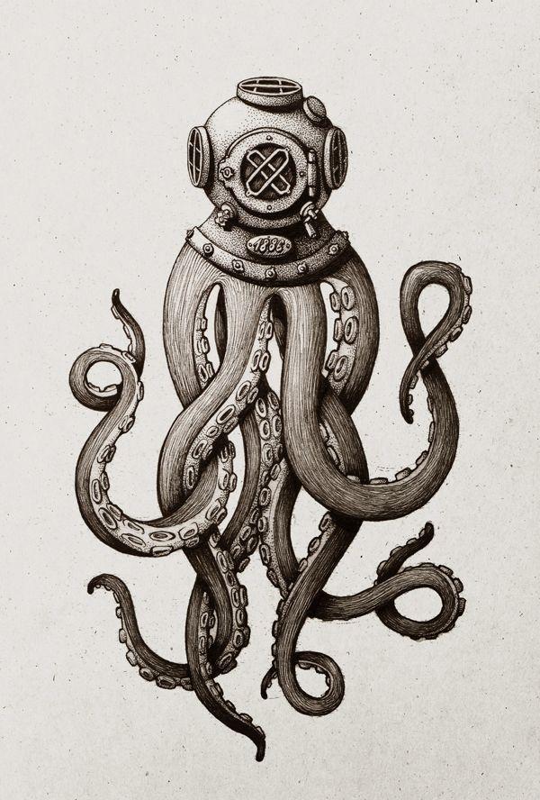 Diver Octo. by Maria Tiurina, via Behance