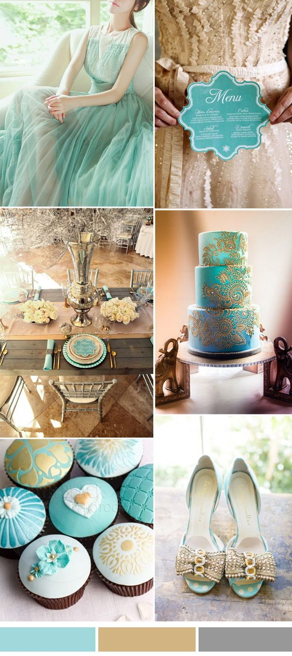 island paradise aqua and gold wedding color inspriation ideas from Pantone