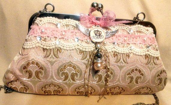 Valentine's Day Formal Clutch romantic purse by BlueSilverVintage