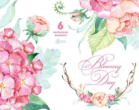 Bloomy Tag: 6 Aquarell Bouquets, Hortensien, Pfingstrosen, Hochzeitseinladung, floral Frame, Grußkarte, diy ClipArt, Blumen, Minze und pink