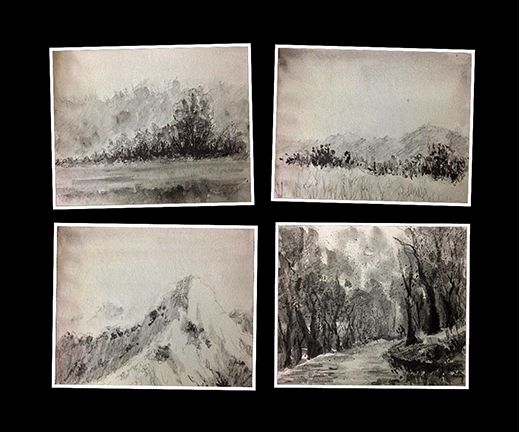 Thumbnail sketches or study sketches of landscapes created using water soluble graphite pencil.