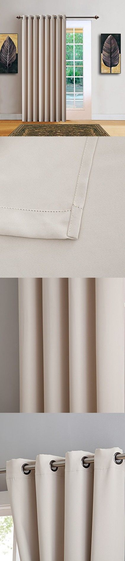"Warm Home Designs 1 Panel of Cream Ivory Blackout Patio Door Curtains. Each Extra Wide, Extra Long Insulated Thermal Sliding Door or Room Divider Curtain Is 102"" X 96"" in Size - N Ivory Patio 96"
