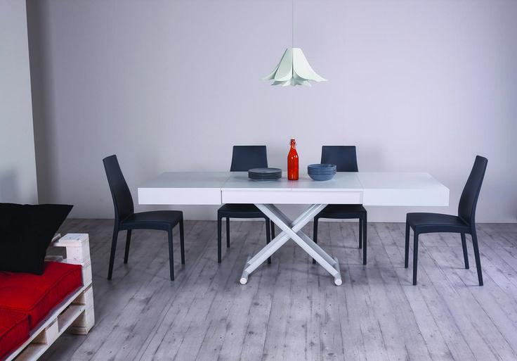 Tavolino trasformabile ULISSE, cm 120×80 chiuso – cm 220×80 aperto. Allungabile a misura intermedia. Altezza regolabile al millimetro da 28 a 88 cm. #salvaspazio #interiordesign #spacesaver #simoniarreda