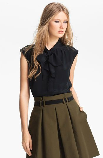 Miss Wu Tie Neck Crêpe de Chine Blouse (Nordstrom Exclusive) available at #Nordstrom