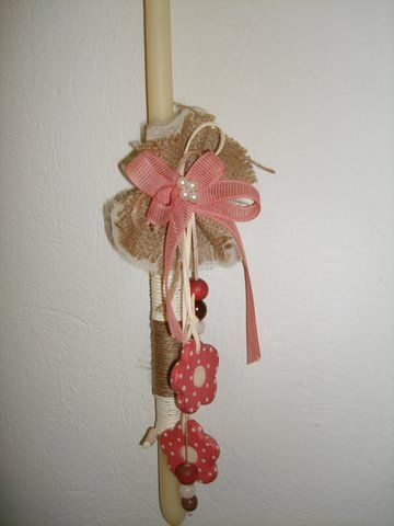 Handmade Easter candle with hand-painted wooden item..