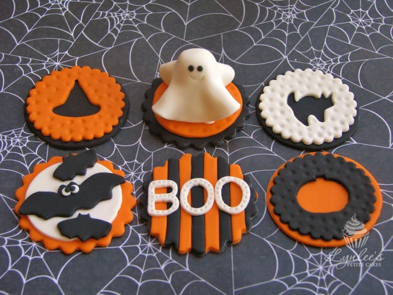items similar to halloween party ghost fondant cupcake toppers on etsy - Halloween Decorations Cupcakes