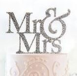 Silver Glitter Inlay Mr & Mrs Topper
