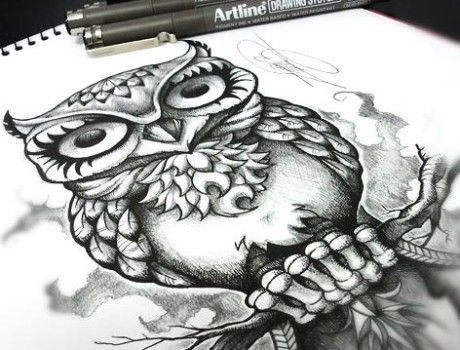 BÚHO   OWL.    Ilustración realizada por Javier Jiménez, tatuador e ilustrador en Rolling Tattoo Studio #Fuengirola.  Todos los Derechos Reservados.   All Rights Reserved.