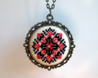 Ethnic Cross stitch necklace - black and red embroidery - Ukraine ornament…