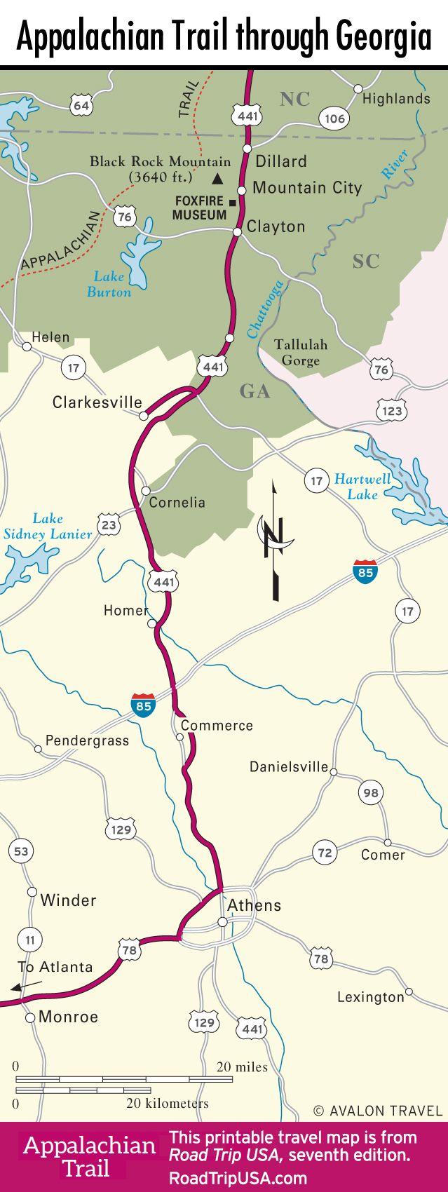 Map of Appalachian Trail through Georgia.